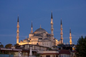 Turkey Istanbul Blue Mosque sunset 2