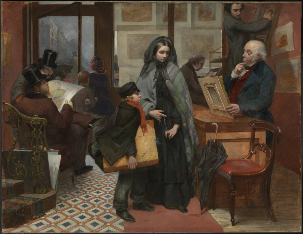 """Emily Mary Osborn, """"Nameless and Friendless.  """"The rich man's wealth is his strong city, etc."""" - Proverbs, x, 15,"""" 1857. Tate Britain."""