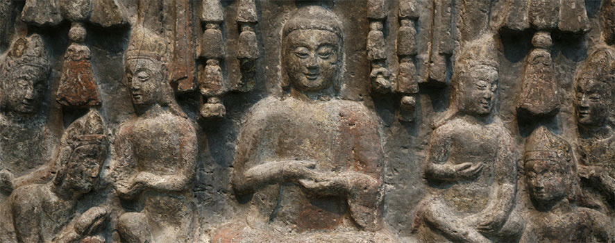 Detail, Gathering of Buddhas and Bodhisattvas. China, Hebei province, Fengfeng, Southern Xiangtangshan Cave Temples, Cave 2. Northern Qi dynasty, 550–577. Limestone with traces of pigment. Gift of Charles Lang Freer, F1921.1