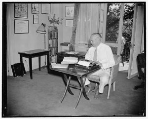 """Michigan Senator keeps in writing trim. Washington, D.C., July 17, 1939."" Harris & Ewing photograph, Library of Congress Prints and Photographs Division."