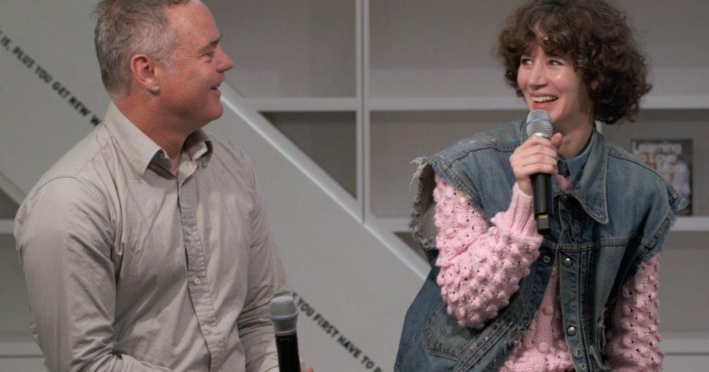Harrell Fletcher and Miranda July, video still from an interview,  San Francisco Museum of Modern Art.