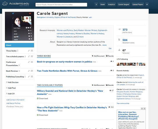 Carole Sarget academia-edu screen shot