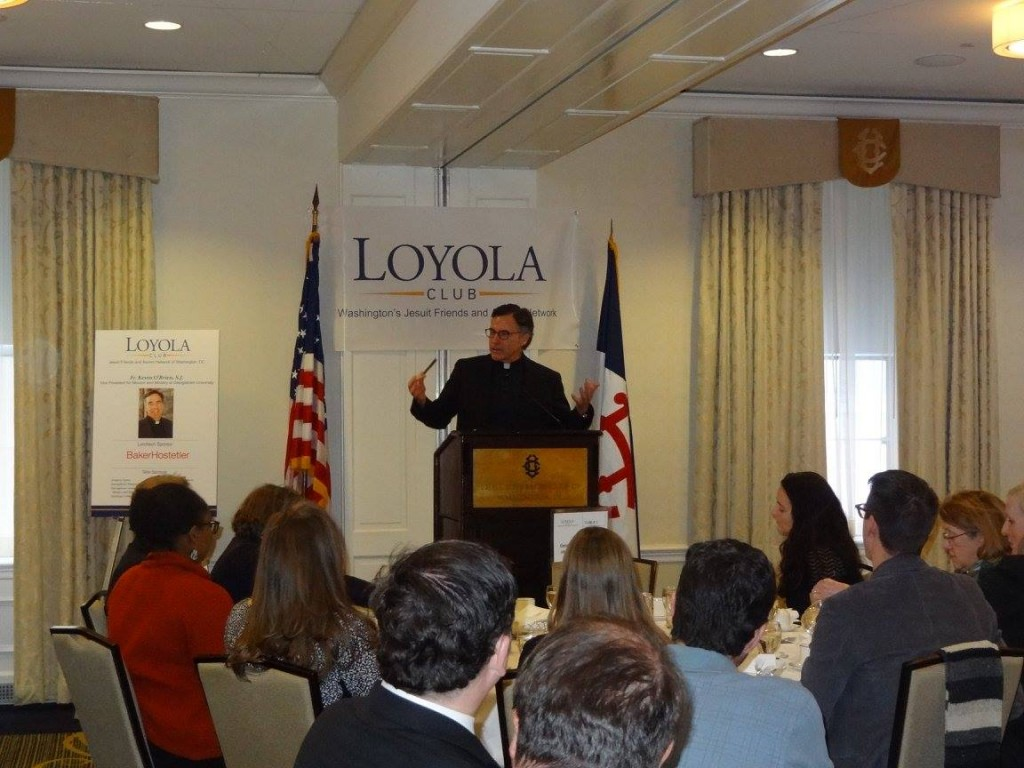 Father O'Brien delivers his speech; photo courtesy of  The Jesuit Collaborative