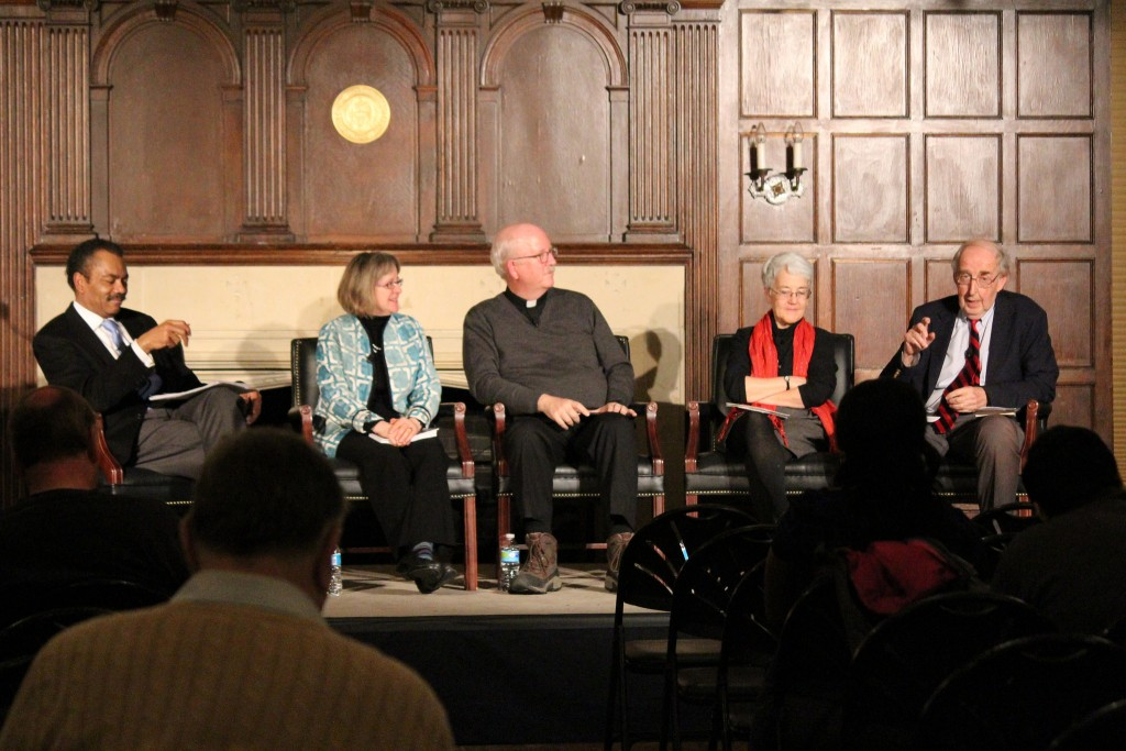 Discussing Jesuits and Justice in D.C. From left to right: Moderator, Professor Maurice Jackson, Kim Cox, President of the McKenna Center, Tom Gaunt, S.J. Ph.D., executive director of CARA and President of L'Arche Greater Washington, Diane Roche, RSCJ, director, Office of Justice, Peace and Integrity of Creation of the Stuart Center for Mission, Educational Leadership and Technology, and Colman McCarthy, founder and director, Center for Teaching Peace.