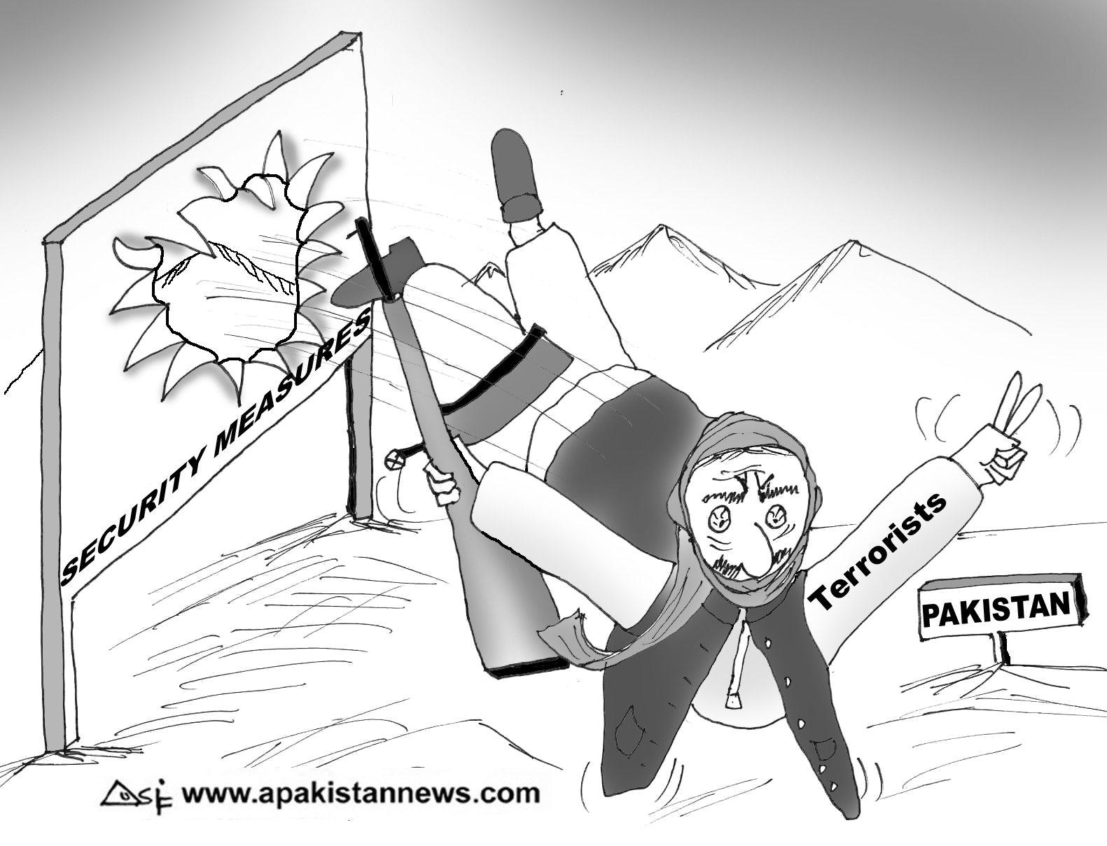 An editorial cartoon on Pakistan\'s security, via www.apakistannews.com