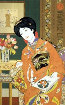An advertising poster for the Mitsukoshi Gofukuten show of new patterns for spring designed by Hisui Sugiura in 1914. Photo courtesy: https://www.pinterest.pt/pin/299278337713208538/