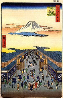 Echigoya illustrated by Utagawa Hiroshige, an ukiyo-e artist. Photo Courtesy: https://ja.wikipedia.org/wiki/三越#/media/File:Hiroshige,_Sugura_street.jpg