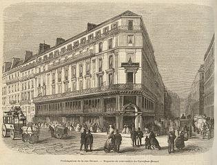 Fichot, Charles. Prolongation de la rue Drouot, magasins de nouveautés du Carrefour-Drouot. Brown University Library.