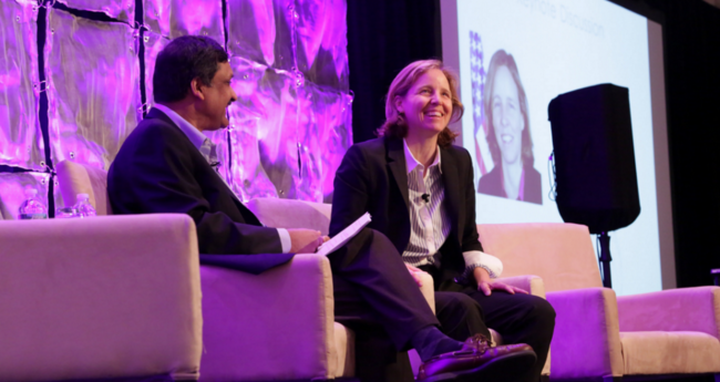 US Chief Technology Officer Megan Smith participates in a keynote discussion with edX CEO Anant Agarwal.