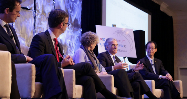 Provost Groves speaks on a panel with other higher education administrators at the 2015 edX Global Forum.