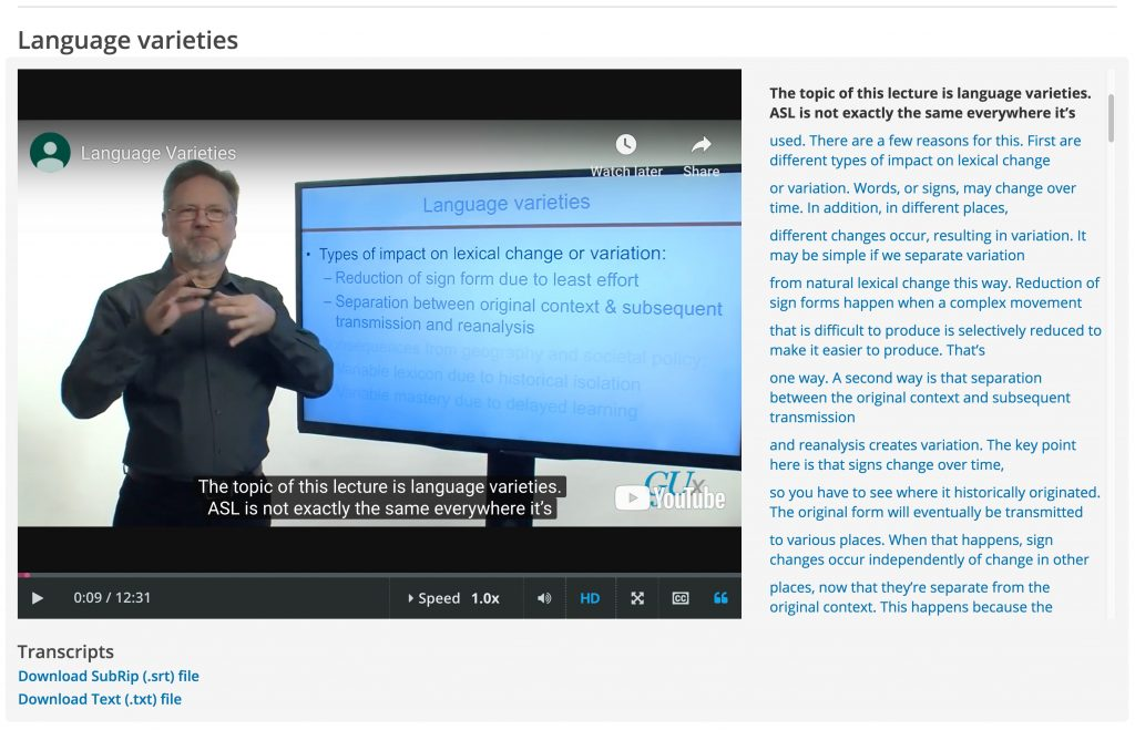 "Ted Supalla (Neurology) teaching the MOOC, ""Sign Language Structure, Learning, and Change"""