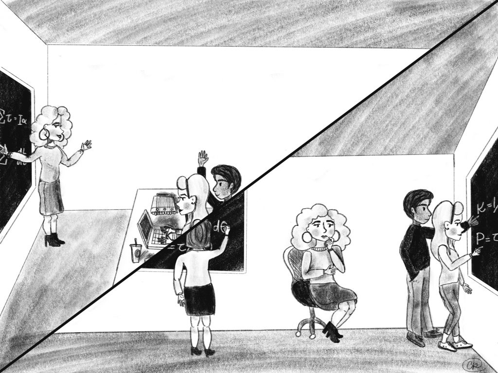 A drawing of two classrooms: in one, the teacher is lecturing happily to students. In another, students are doing active learning while the teacher looks on, pondering.