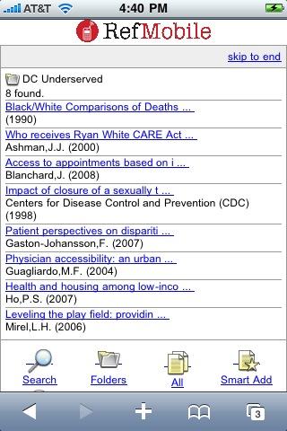 RefMobile Folder List - Click for full size