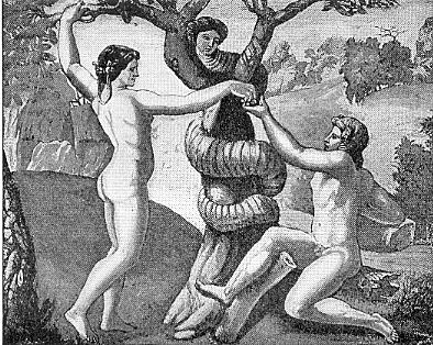 Lilith as Temptress for Adam and Eve