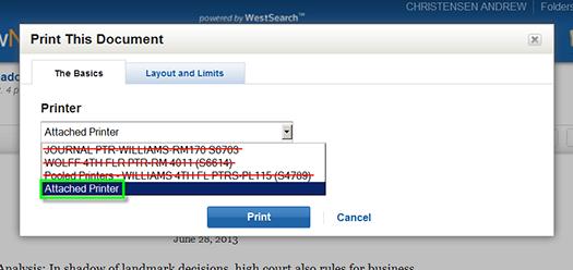 WestlawNext print menu