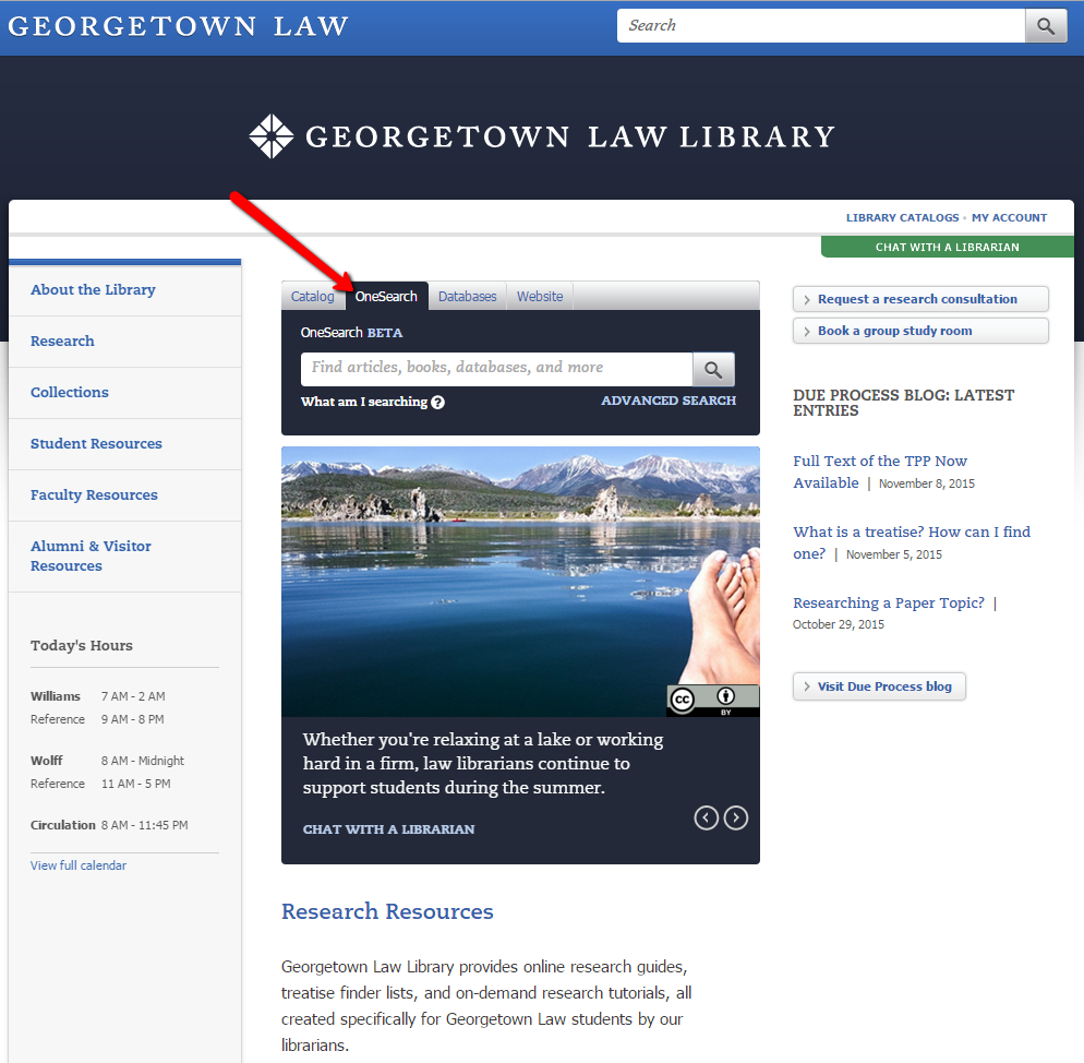 Library home page, featuring OneSearch