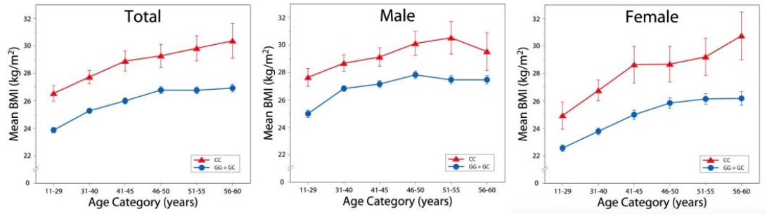 Fig. 3. BMI as a function of age, sex, and rs7566605 genotype. Unadjusted mean values for BMI comparing individuals homozygous for the minor allele (CC) with those that are either het- erozygous or homozygous for the major allele (CG or GG) are shown. Data are for 923 related offspring and combine all the measurements from the first five offspring exams. Panels are for the pooled sample and for sex-specific analysis. Data are shown as mean T SEM for each age category. Data from individuals over age 60 are omitted because few of those individuals have the CC genotype. Science 312: 279 (2006)