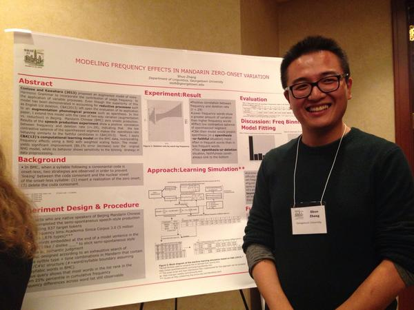 "Shuo Zhang presenting on ""Modeling Frequency Effects in Mandarin Zero-onset Variation."" Photo credit: Jen Nycz via Twitter."