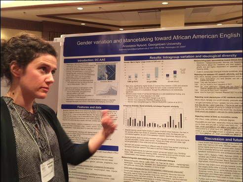 Anastasia Nylund discussing gender variation and stancetaking toward African American English in DC. Photo credit: Uri Horesh via Twitter.
