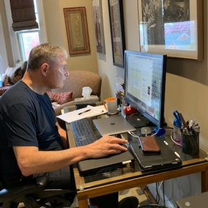 Dr. Weiner at work in his home office