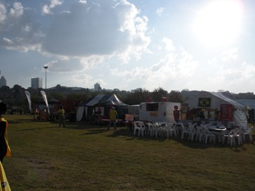 Food tents at the Fan Fest - many of us ate at the Brazilian place on the right