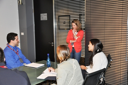 Kathy Carter, EVP of Soccer United Marketing, speaking to SIM Students