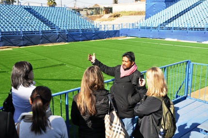 Seth Naicker of Football for Hope showing our group the Alexandra stadium