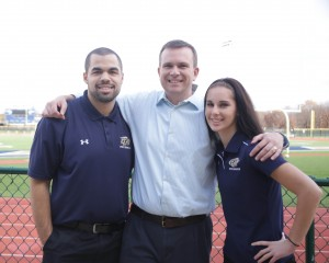Pictured left to right: Shad Sommers, Sam Atkinson and Sarah FitzPatrick on Gallaudet's campus outside Hotchkiss Field.