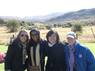 Ashley, Kyla, Nicole and Patricia getting ready to go on the Safari
