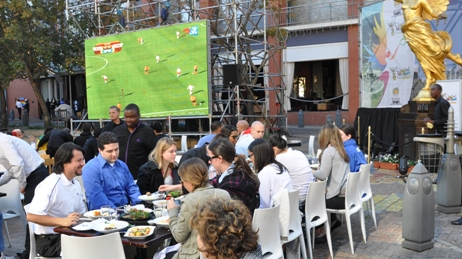 Lunch at Melrose Arch, with Holland-Denmark game in the background
