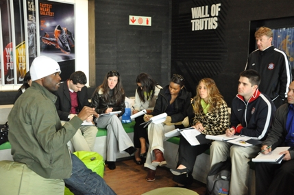 Mzamo Masito, Brand Manager for Nike South Africa speaks with SIM students