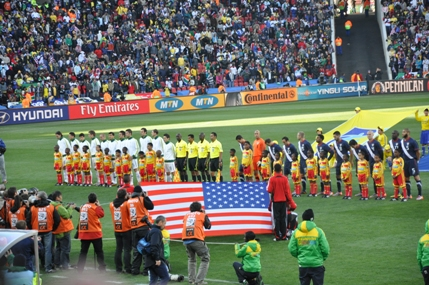 National anthems and flag presentations before the game