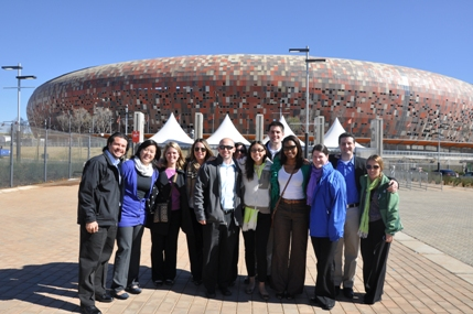 SIM group in front of Soccer City, the home of the opening match and final match of the 2010 World Cup