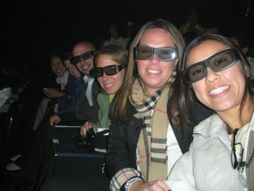 Matt, Rebecca, Ashley and Sarah sporting their Sony 3-D glasses at the show
