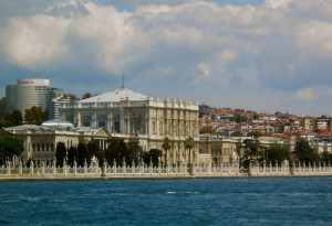 Bosporus view of Dolmabache Palace from ferry