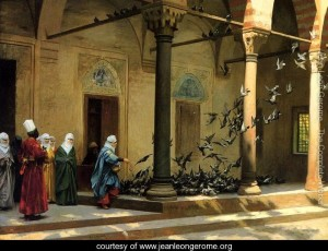 Harem-Women-Feeding-Pigeons-in-a-Courtyard-large