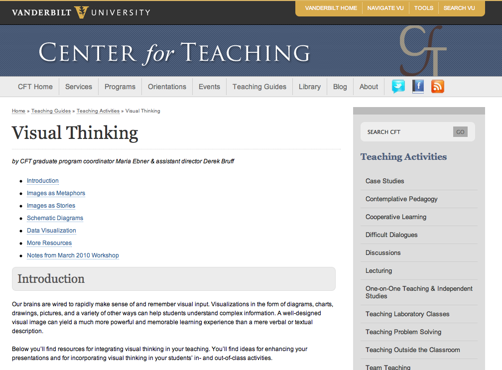 A guide to using visual thinking in one's teaching (Vanderbilt University)