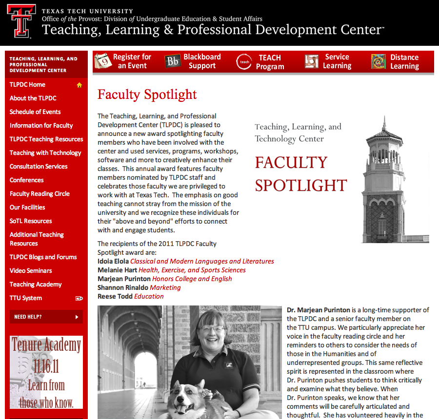 An example of how to showcase faculty and their teaching on a teaching center website