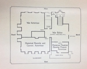 Plan of the Museum from 1926 indicating space for War Relics